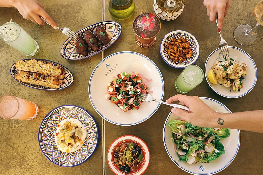 Meze & exotic dishes are served in a colorful room & patio with an Eastern Mediterranean feel.