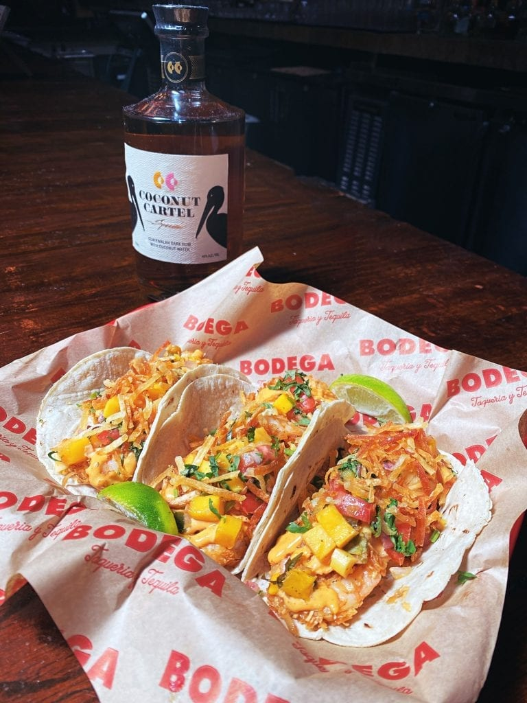 Zesty tacos & tequila drinks headline the menu at this funky joint with a food truck parked on-site.