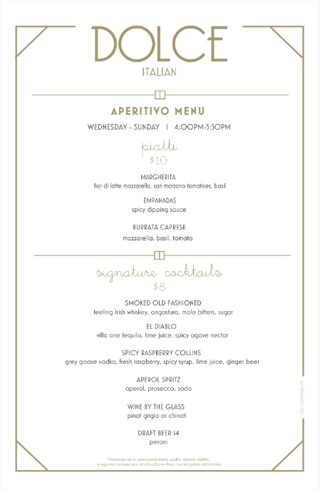 New Aperitivo Menu At Miami Hotspot Dolce Italian