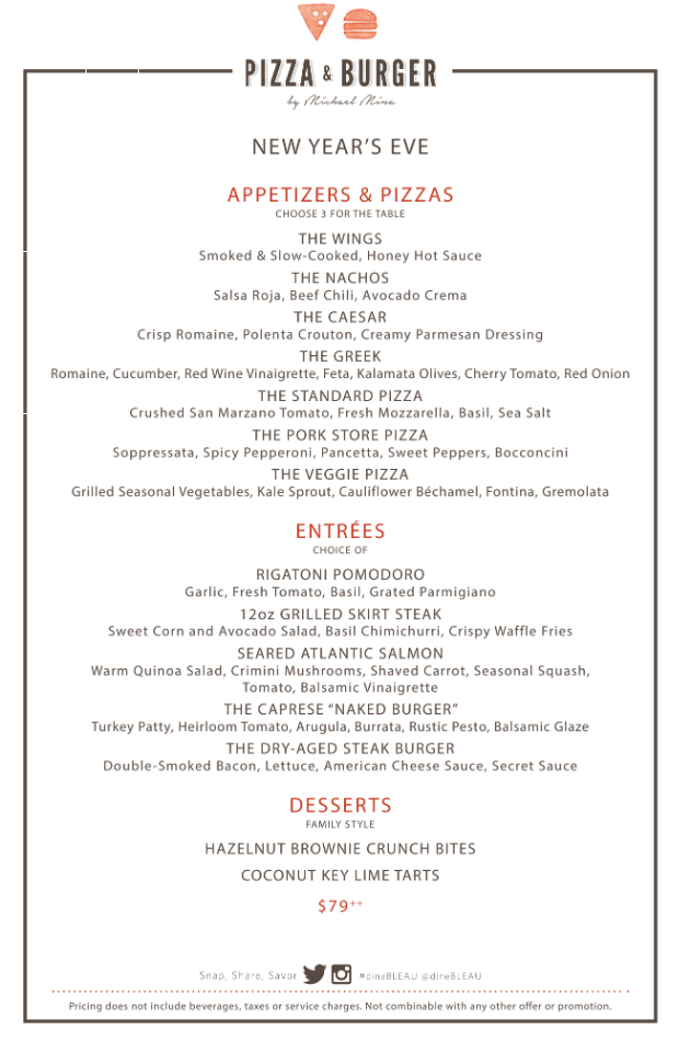 Pizza & Burger New Year's Eve 2020 Menu