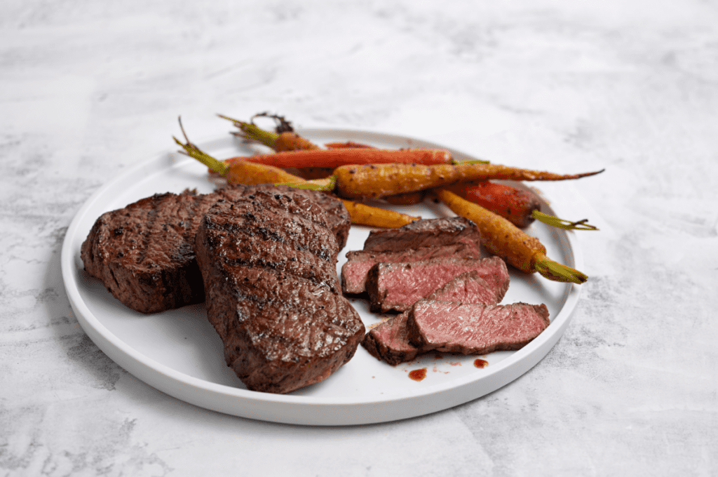 Wild Fork Ribeye Filet with Caramelized Cumin Roasted Carrots
