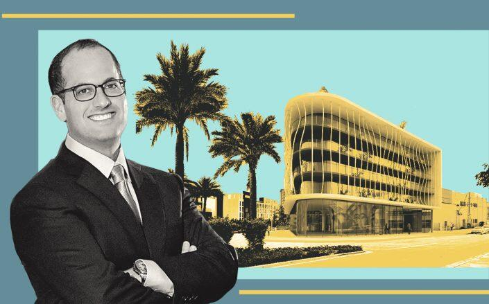 Ronny Finvarb with a rendering of 1790 Alton Road via www.therealdeal.com