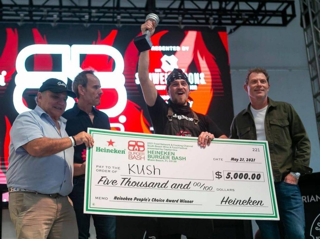 SOBEWFF 2021 Burger Bash Award Bobby Flay n Kush