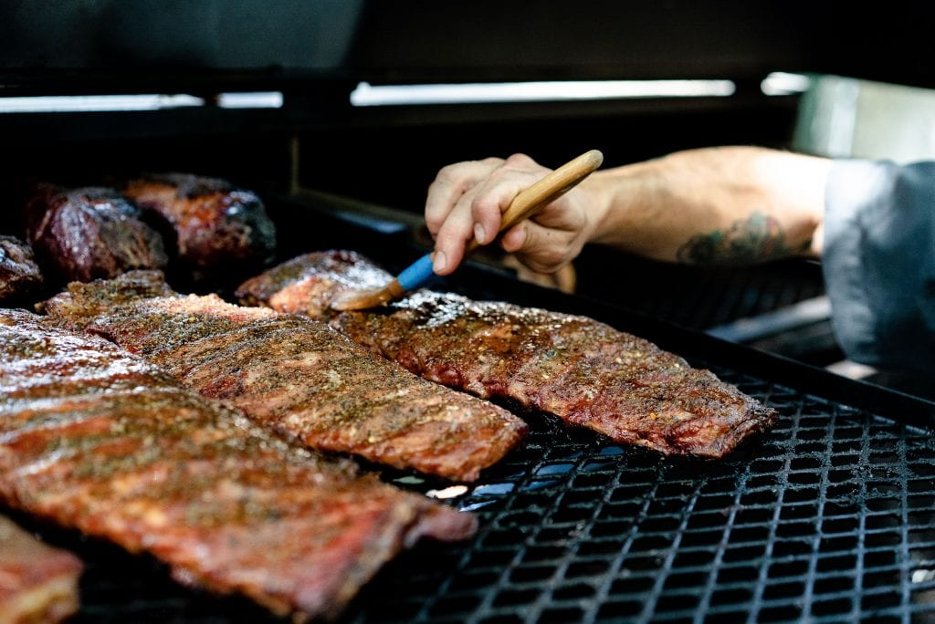 The Taurus Ribs on the grill