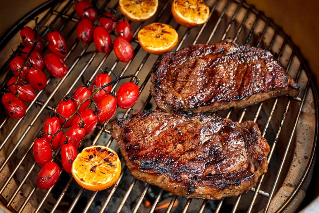Wild Fork Steak and Tomatoes Grilling